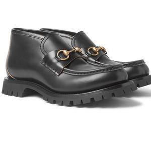 GUCCI Horsebit Leather Lug Sole Loafers